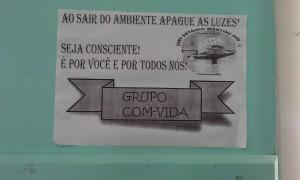 Cartaz colocado na sala de aula.